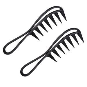 2pcs Breite Zähne Kamm Strähnenkamm Lockenkamm Kamm Afrokamm Griffkamm für Dichtes, Lockiges und Langes Haar