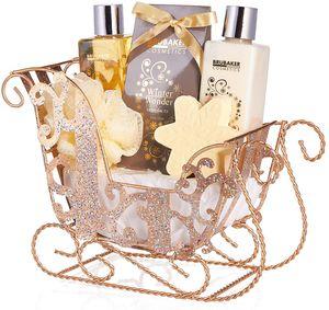 BRUBAKER Cosmetics 6-teilig Pflegeset - Winter Wonder - Beauty Geschenkset mit Vanille Duft - inkl. Glitzer Schlitten Gold