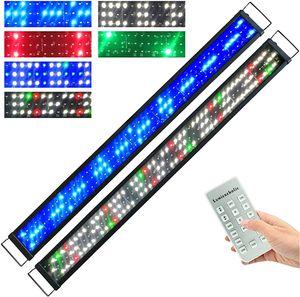 90-110cm LED Aquarien Beleuchtung mit Zeitsteurung und Fernbedienung Dimmbar Aquarium Lampe Fisch Vollspektrum Tank Süß/Meerwasser Aquariumleuchte Aufsetzleuchte  RGB
