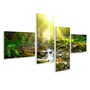 Bild Bilder auf Leinwand Bergfluss Mittlerer grüner Wald Ruhige Landschaft Wandbild Poster Leinwandbild GDAG