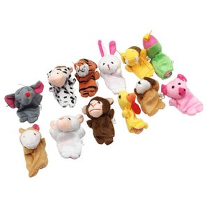 12 Stück zwölf Tierzeichen Handpuppen Fingerpuppen Plüsch Tier Lernspielzeug für Kinder und Kleinkind - Mehrfarbig