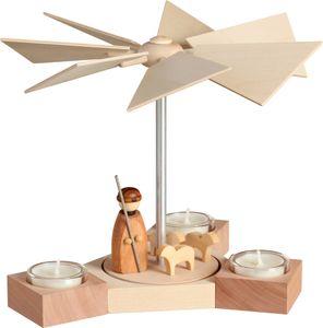 Moderne erzgebirgische Pyramide aus Holz Hexagonum Höhe 20 cm, Modell:Schäfer