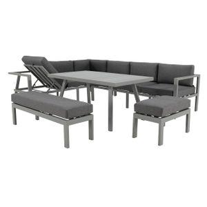 NATERIAL - Gartenmöbel-Set NAXOS - 10 Personen - Sitzgruppe Garten - Aluminium - Grau