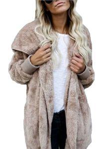 Plus Size Damen Kapuze Strickjacke Winter warme Kunstpelz Mantel,Farbe: Khaki,Größe:L
