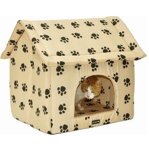 nanook XL Hundehöhle Chalet 60 x 55 cm - beige m. schwarzen Pfoten 30637