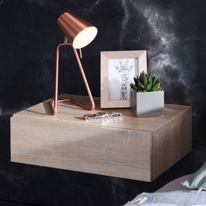 WOHNLING Nachtkonsole ZADAR für Wandmontage 46x15x30cm Sonoma Nachttisch Holz | Wandregal mit Schublade | Nachtschrank Wandboard für Boxspringbett schwebend | Wandkonsole Nachtkästchen hängend