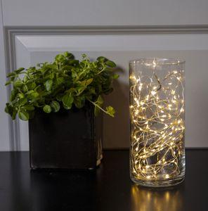 LED Draht 100er Micro LED Lichterkette Drahtlichter inkl Timer warmweiß Batterie