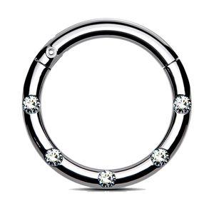 viva-adorno 1,2 x 10mm Segmentring Clicker Scharnier Septum Nasen Piercing Ring Kristall Zirkonia Z551, silber