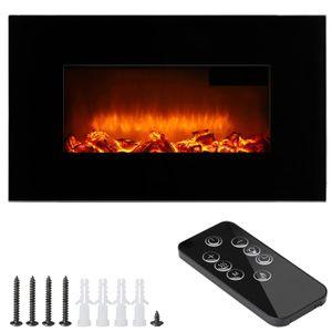 Wandkamin Elektrisch Elektrokamin + Fernbedienung |  Head-up Display | Digitales Thermostat | 1800 Watt schwarz