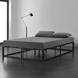 Metallbett 160x200cm Schwarz auf Stahlrahmen mit Lattenrost Bettgestell Design Doppelbett Gästebett Schlafzimmer [en.casa]