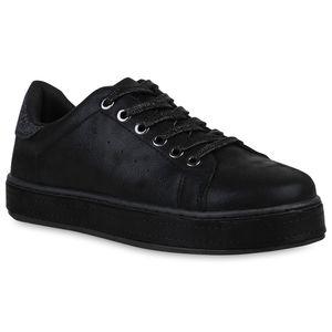 Mytrendshoe Damen Plateau Sneaker Metallic Glitzer Schuhe Turnschuhe Schnürer 820818, Farbe: Schwarz, Größe: 37