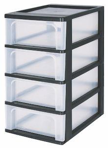 IRIS OHYAMA Schubladencontainer DIN-A4 4 hohe Schubladen, schwarz-transparent 6173
