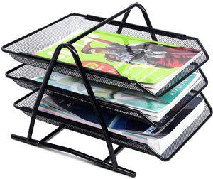 Dokumentenablage Metall mit 3 Faecher, Briefablage Organize Ablage Schreibtisch, Papierablage Aktenablage Ablagefaecher stapelbar, Ablagekorb Briefkorb Schreibtischablage, Schwarz