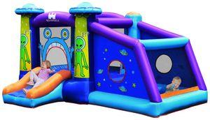 COSTWAY Alien Hüpfburg aufblasbar, Springburg, Hüpfschloss mit Rutsche und Spiel Bereich, Spielburg für Kinder 331x258x178cm