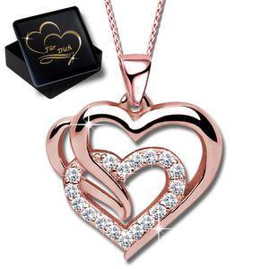 Damenkette 45cm Herz  echt 925 Sterling Silber  Halskette mit Anhänger Frauen Damen Kette Rosegold Herzkette K602+V11