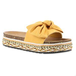 Giralin Damen Sandaletten Pantoletten Nieten Plateau Schleifen Schuhe 837617, Farbe: Gelb, Größe: 39