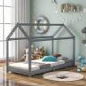 Kinderbett 90x200 cm Hausbett DESIGN Holzlattenkinder Kinder Holz Haus Hausbett Spielbett Hausbett Kinderhaus