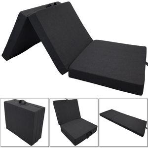 Premium Outdoor Klappmatratze Tino Compact 190 x 60 x 7 cm in Anthrazit wasser- und schmutzabweisende Faltmatratze geeignet als klappbares Notbett, Gästematratze, Sitzhocker, Campingbett