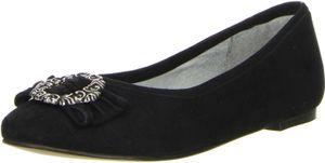 Vista Damen Trachtenschuhe Almhaferl Ballerinas schwarz, Größe:38, Farbe:Schwarz