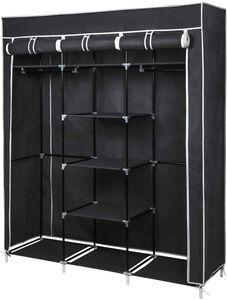 Kleiderschrank Höhe 175cm Stoffschrank Faltschrank Garderobe mit Kleiderstange 3 hochrollbaren Türen 175cm*150cm*45cm Schwarz