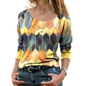 Damen bedrucktes Rundhals-Langarm-T-Shirt Pullover Top Sweatshirt,Farbe: Orange,Größe:4XL