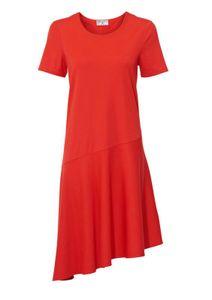 rick cardona asymmetrisches Damen Jersey-Kleid knielang Rot, Größe:42