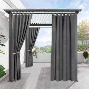 6 Stück Outdoor Vorhänge Gartenlauben Pavillon Balkon-Blickdicht Vorhänge Gardinen Verdunkelungsvorhänge mit Ösen, Vorhang Wasserdicht Mehltau beständig UVschutz (132*213cm, Dunkelgrau)