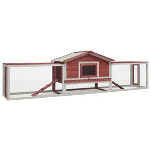vidaXL Kaninchenstall Rot 303 x 60 x 86 cm Kiefer & Tanne Massivholz