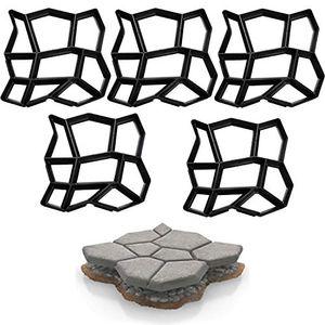karpal 5X Pflasterform Beton Pflasterschablone Trittplatten Giessformen Schwarz Kunststoff Gehwegplatten Aussenbereich Garten Terrasse Pflastersteine 43x43x4cm¡