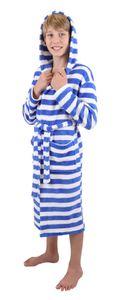 Kinder Bademantel mit Kapuze Kinderbademantel Kids Comfort, Größe - 140, Farbe  blau gestreift