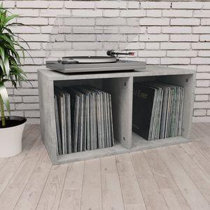 Schallplatten-Aufbewahrungsbox CD-Schrank CD-Regal Medienschrank Betongrau 71×34×36 cm Spanplatte