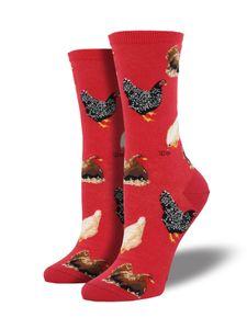 Socksmith - Hen House - Hühner  - Damen Socken, rot - Gr. 39-42. No boring Socks