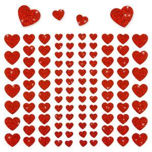 Oblique Unique 106 Herz Sticker Aufkleber Set mit Glitzer Scrapbooking - rot
