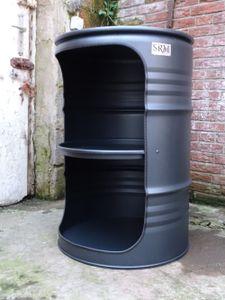 Fassmöbel Design Regal Ölfass Möbel 210 Liter Fass Schwarz Matt mit Beleuchtung