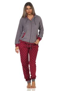 Damen Frottee Hausanzug Tupfendesign Homewear Loungewear - auch in Übergrössen bis 60/62, Farbe:Ringel rot, Größe:44/46