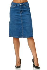 Damen Jeans Rock Knielang Stretch Ausgestellt Midi Skirt Übergröße Plus Size D2471, Farben:Blau, Größe:48