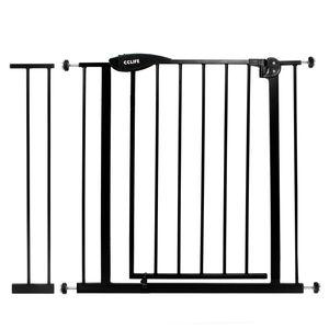 Treppenschutzgitter Türschutzgitter Türgitter Treppen Absperrgitter ohne Bohren, Farbe:Schwarzes Gitter mit 14cm Verlängerung