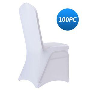 Blueweiqi Weiß 100 x Universell Stuhlhussen Stretch Stuhl Husse Stuhlüberzug Für Hochzeit