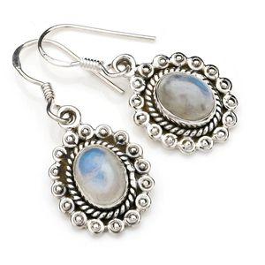 Mondstein Ohrringe 925 Silber Sterlingsilber Ohrhänger weiß (MOH 116-04)