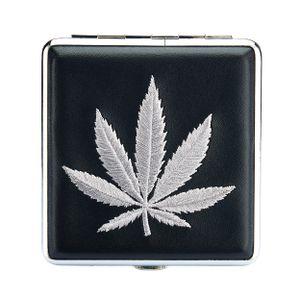 "ZIGARETTENETUI ""Hanfblatt"" Hanf Leder für 20 Zigaretten Etui Zigarettenbox Zigarettendose Case Cannabis Box Dose 62 (Silber)"