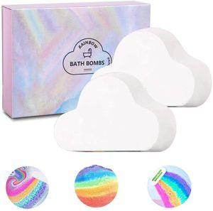 Regenbogen Badebomben Geschenkset, 2 große handgefertigte 180g Badekugeln mit natürlichen Inhaltsstoffen, bunten Blasen für Kinder/Frauen, beste Geschenkidee für Halloween, Weihnachten