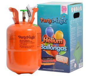 PartyMagix Heliumgasflasche Heliumgas für 20 und 30 Ballons Helium Flasche Gasflasche Balloon Gas Ballongas Einweg, wählen:30 Ballons