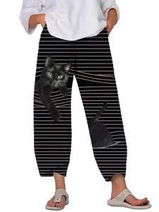 Damen gestreifte bedruckte elastische Taille Haremshose Lose Jogginghose Hose,Farbe: Grau gestreifte Katze,Größe:5XL