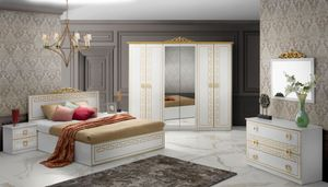 Barock Schlafzimmer Olimpia in Weiss/Gold 6-Teilig  180 x 200 cm