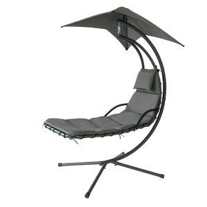 SoBuy OGS39-SG Schwebeliege mit Sonnenschirm Relaxliege Schwingliege Schaukelliege Hängesessel Hängeliege Sonnenliege Belastbarkeit 120kg Grau