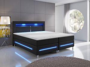 Mirjan24 Boxspringbett Milano, Polsterbett mit Matratze, Stilvoll Doppelbett, LED-Beleuchtung (Farbe: Soft KM 100 Größe: 160x200 cm)