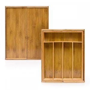 relaxdays Besteckkasten Bambus ausziehbar