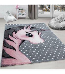 Kinderteppich Einhorn Baby Kurzflor Kinderzimmer Babyzimmer Teppich Grau Pink, Grösse:160x230 cm