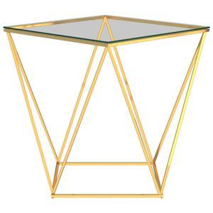 dereoir Couchtisch Golden und Transparent 50x50x55 cm Edelstahl