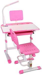 Kinderschreibtisch höhenverstellbar mit Stuhl und Schublade Schreibtisch stabil multifunktional für Kinder   Studenten Schüler  mit LED Lampe  (Rosa)